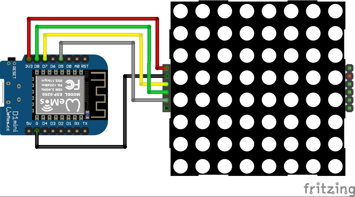8x8 Dot Display ESP8266 WeMos D1 Mini