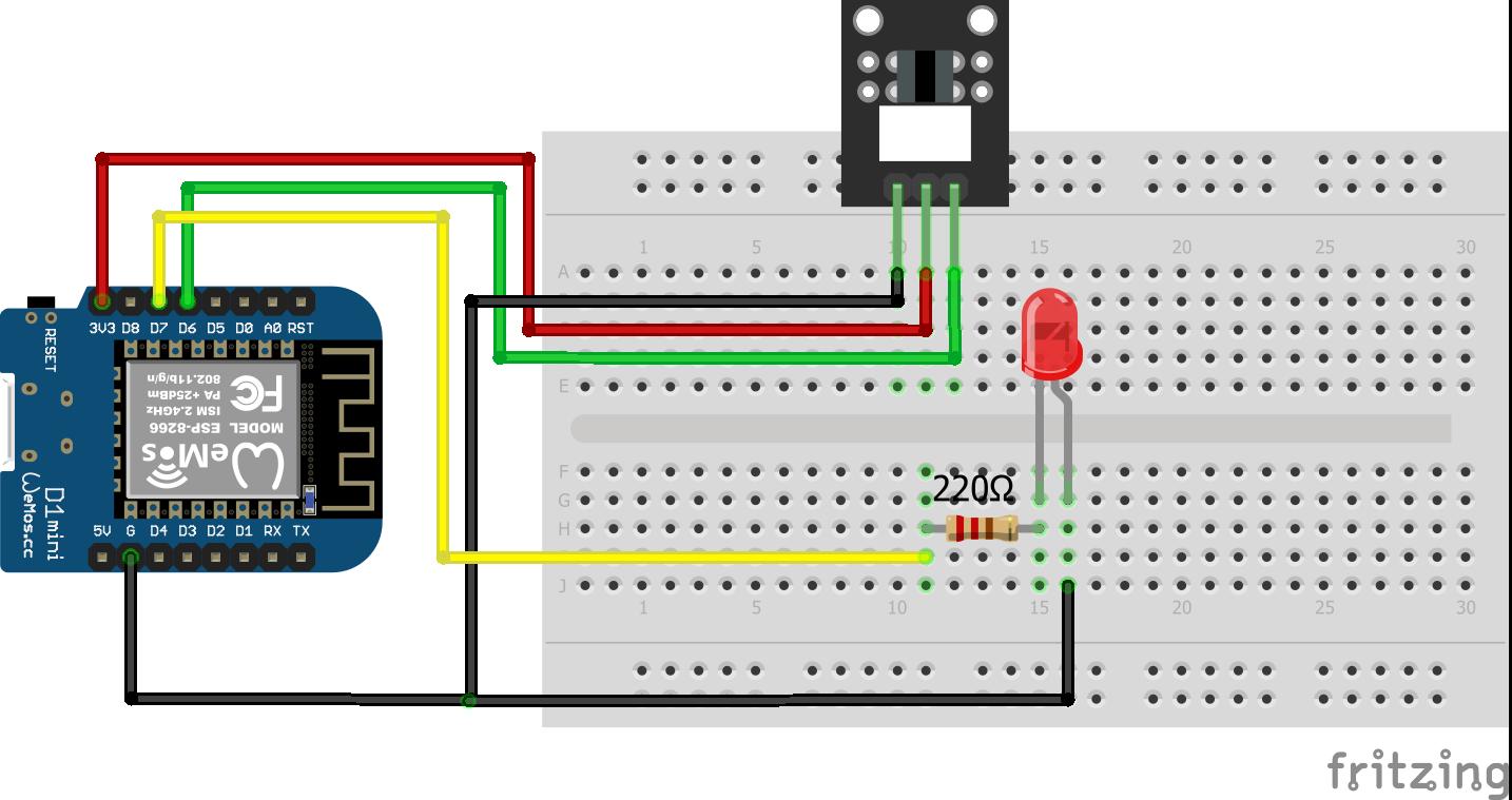 Light Blocking KY-010 ESP8266 WeMos D1 Mini