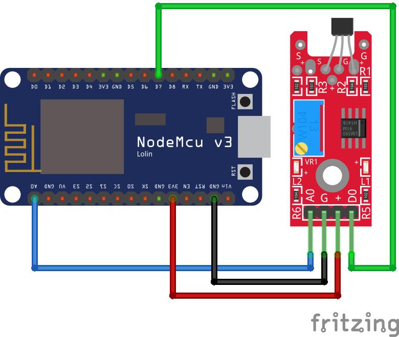 Linear Hall Sensor KY-024 ESP8266 NodeMCU