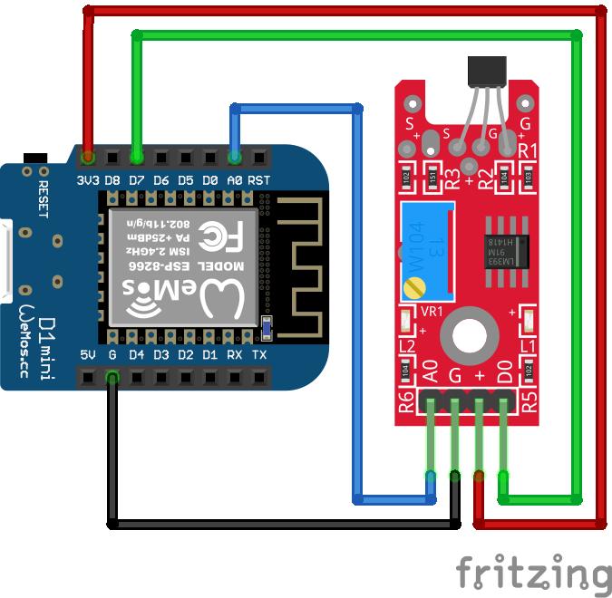 Linear Hall Sensor KY-024 ESP8266 WeMos D1 Mini