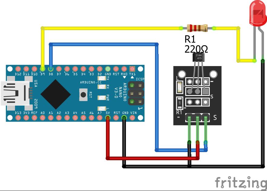 Magnetic Hall Sensor KY-003 Arduino Nano