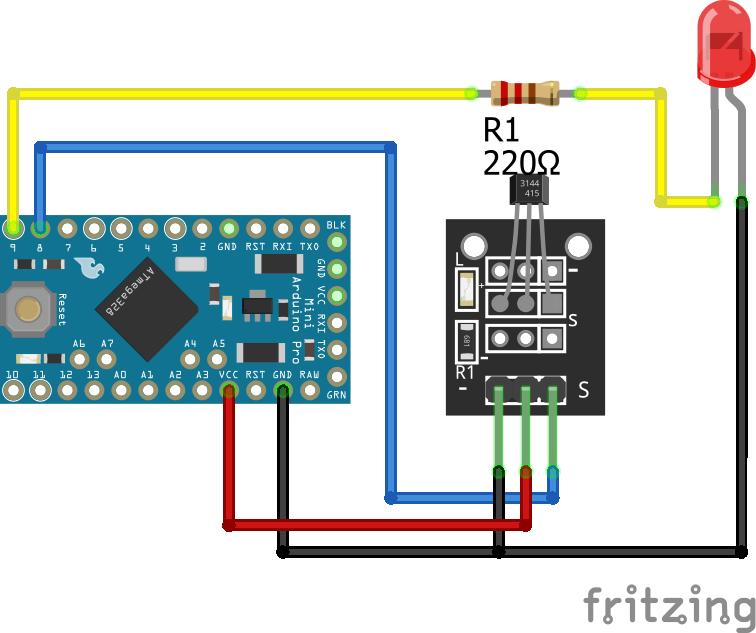 Magnetic Hall Sensor KY-003 Arduino Pro Mini