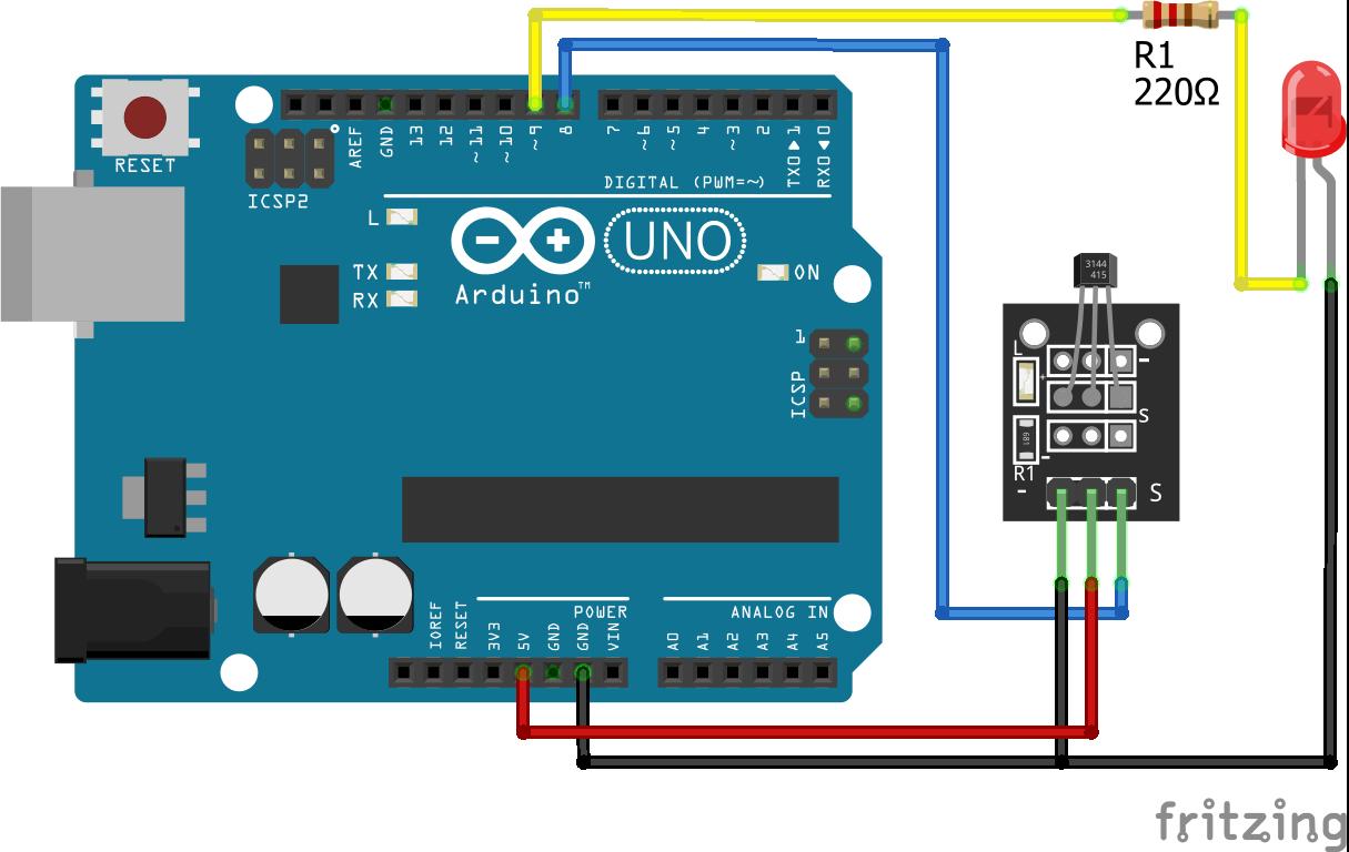 Magnetic Hall Sensor KY-003 Arduino Uno