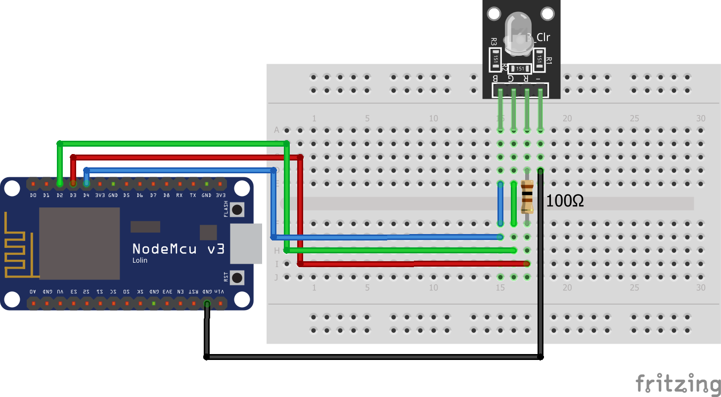 RGB LED KY-016 ESP8266 NodeMCU
