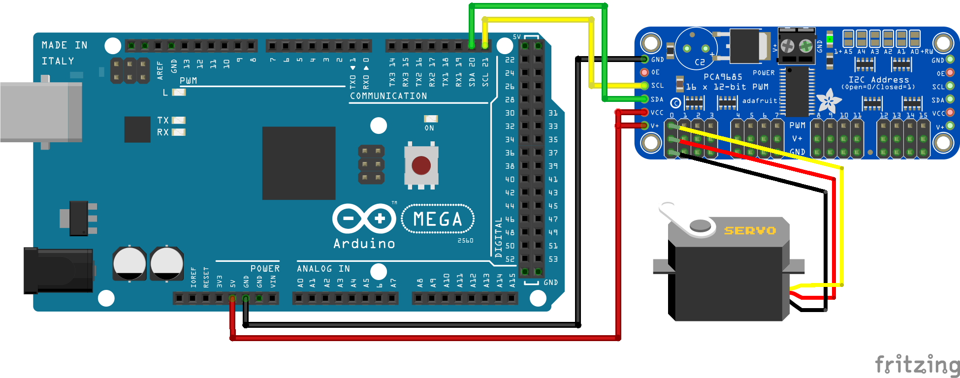 Servo PCA9685 Arduino Mega