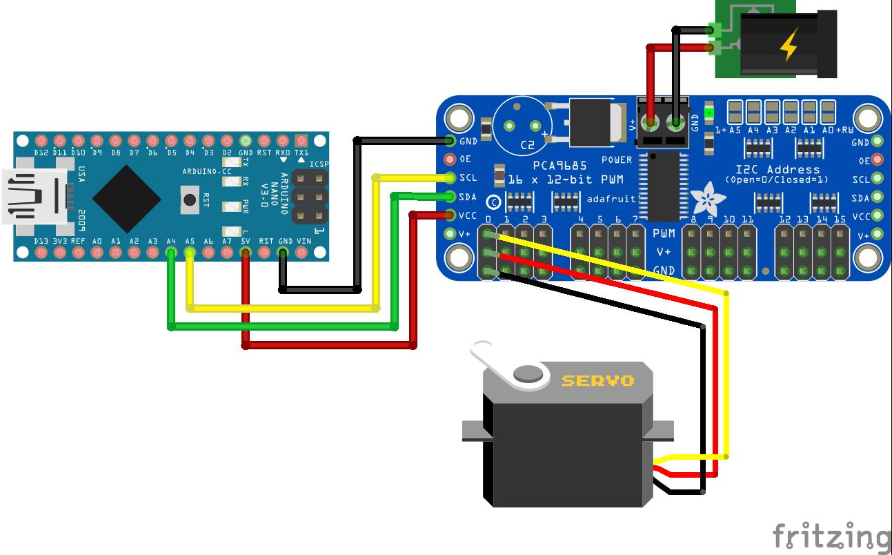 Servo PCA9685 External Power Supply Arduino Nano