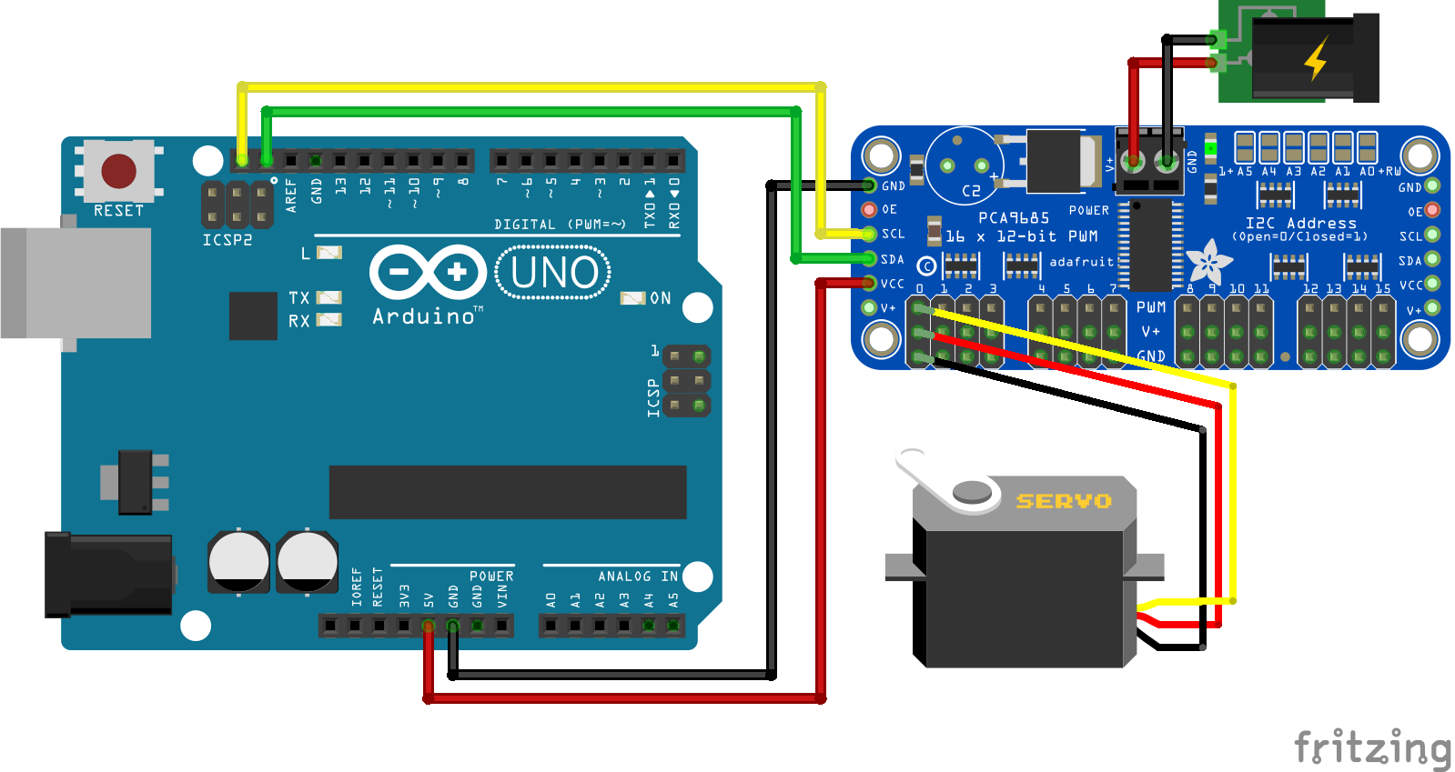 Servo PCA9685 External Power Supply Arduino Uno