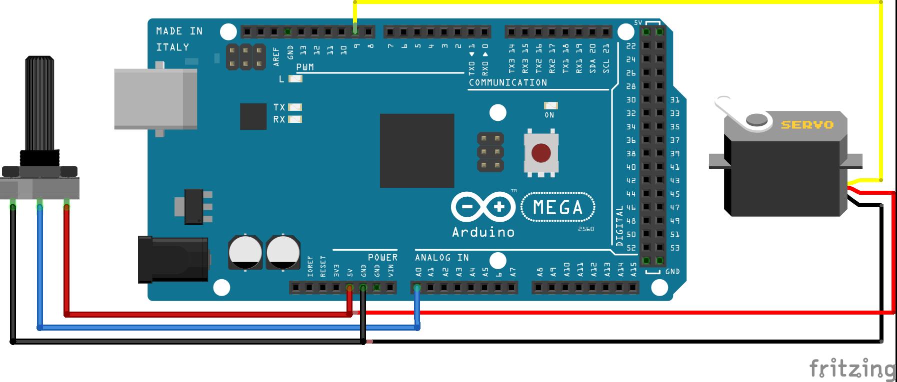 Servo Potentiometer Arduino Mega