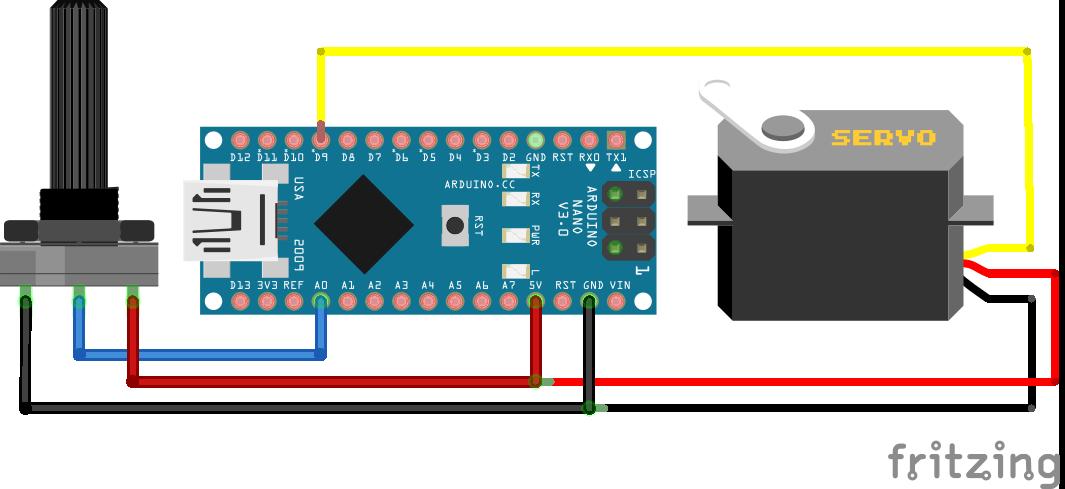 Servo Potentiometer Arduino Nano