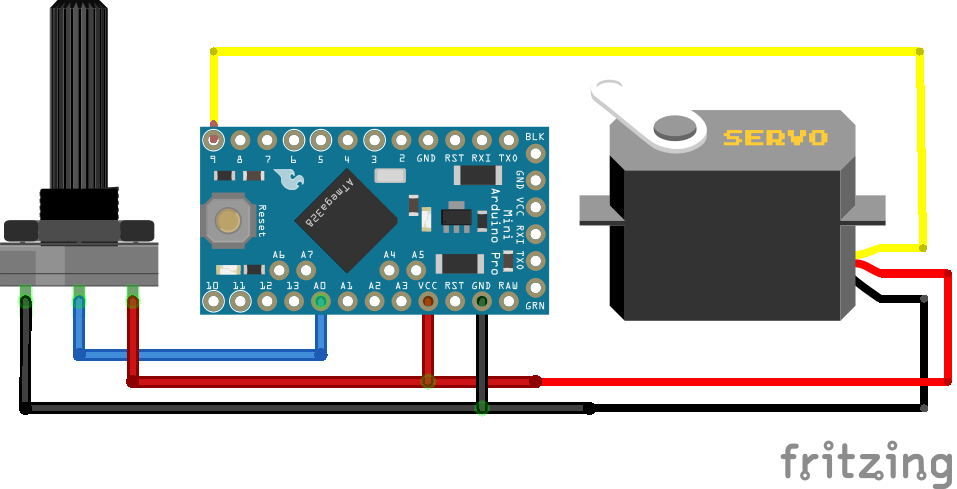 Servo Potentiometer Arduino Pro Mini