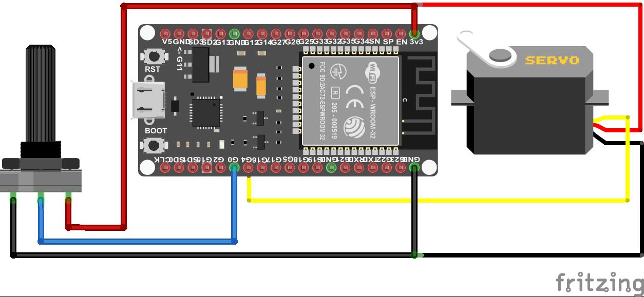 Servo Potentiometer ESP32 NodeMCU