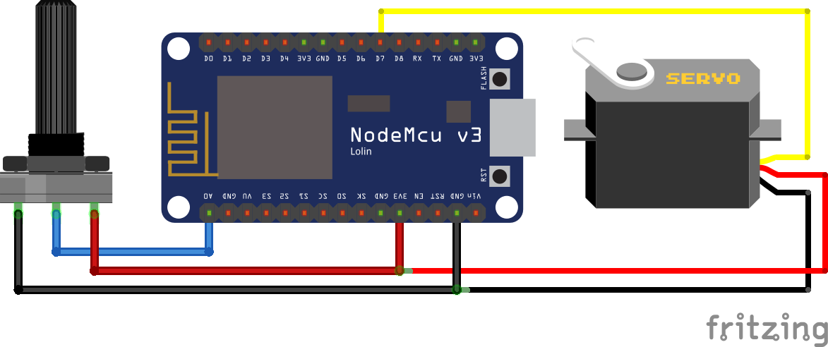 Servo Potentiometer ESP8266 NodeMCU