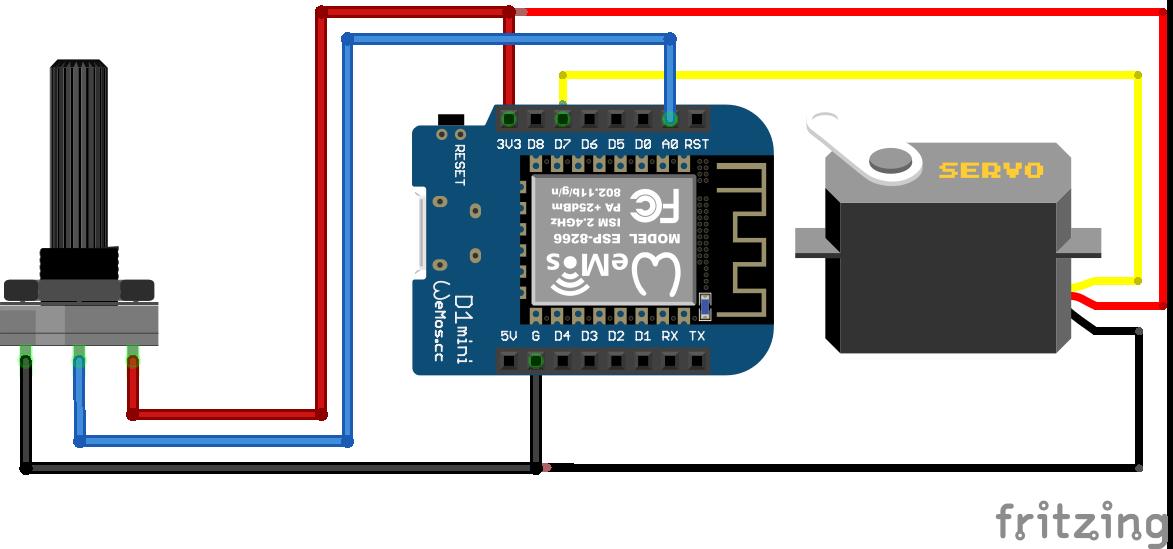 Servo Potentiometer ESP8266 WeMos D1 Mini