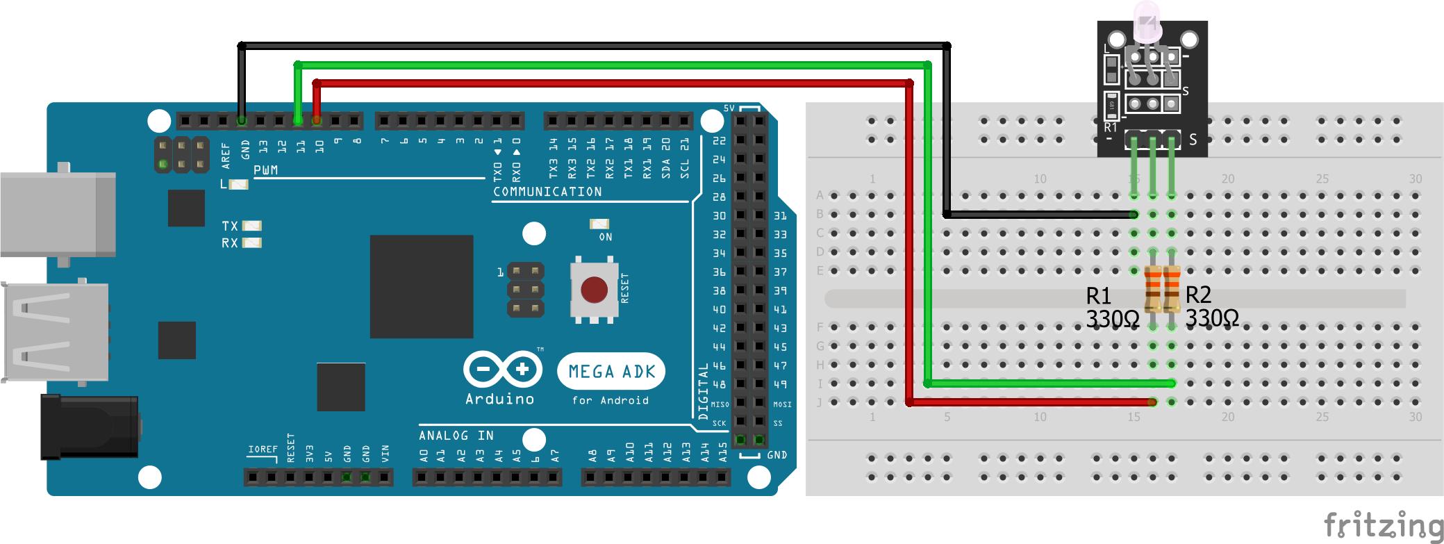 Two-color LED KY-011 Arduino Mega
