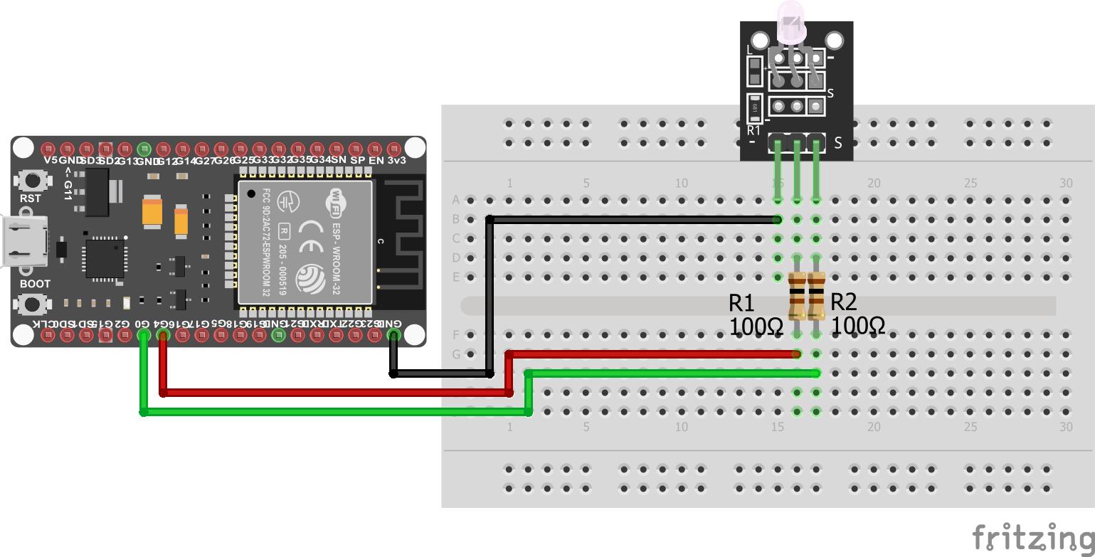 Two-color LED KY-011 ESP32 NodeMCU