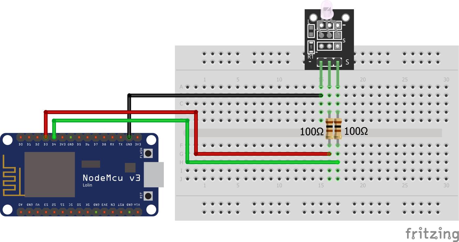 Two-color LED KY-011 ESP8266 NodeMCU