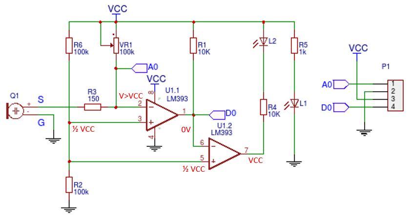 KY-038 sound sensor schematic - active sound