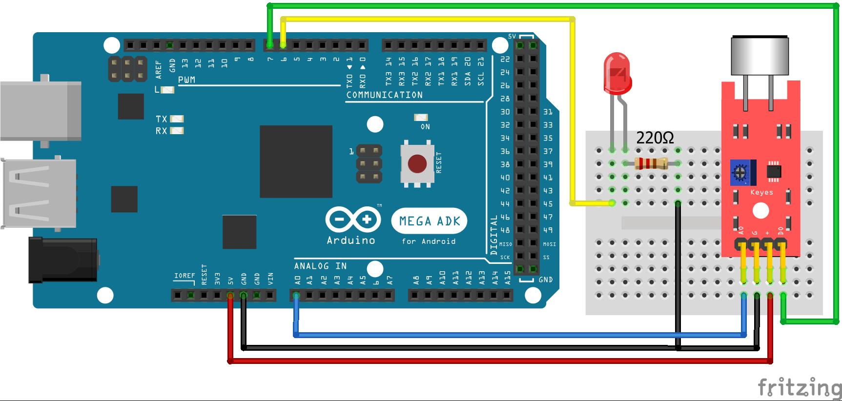 KY-038 Sound Sensor Arduino Mega