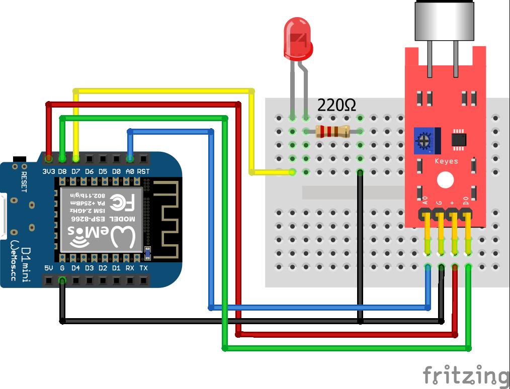 KY-038 Sound Sensor ESP8266 WeMos D1 Mini