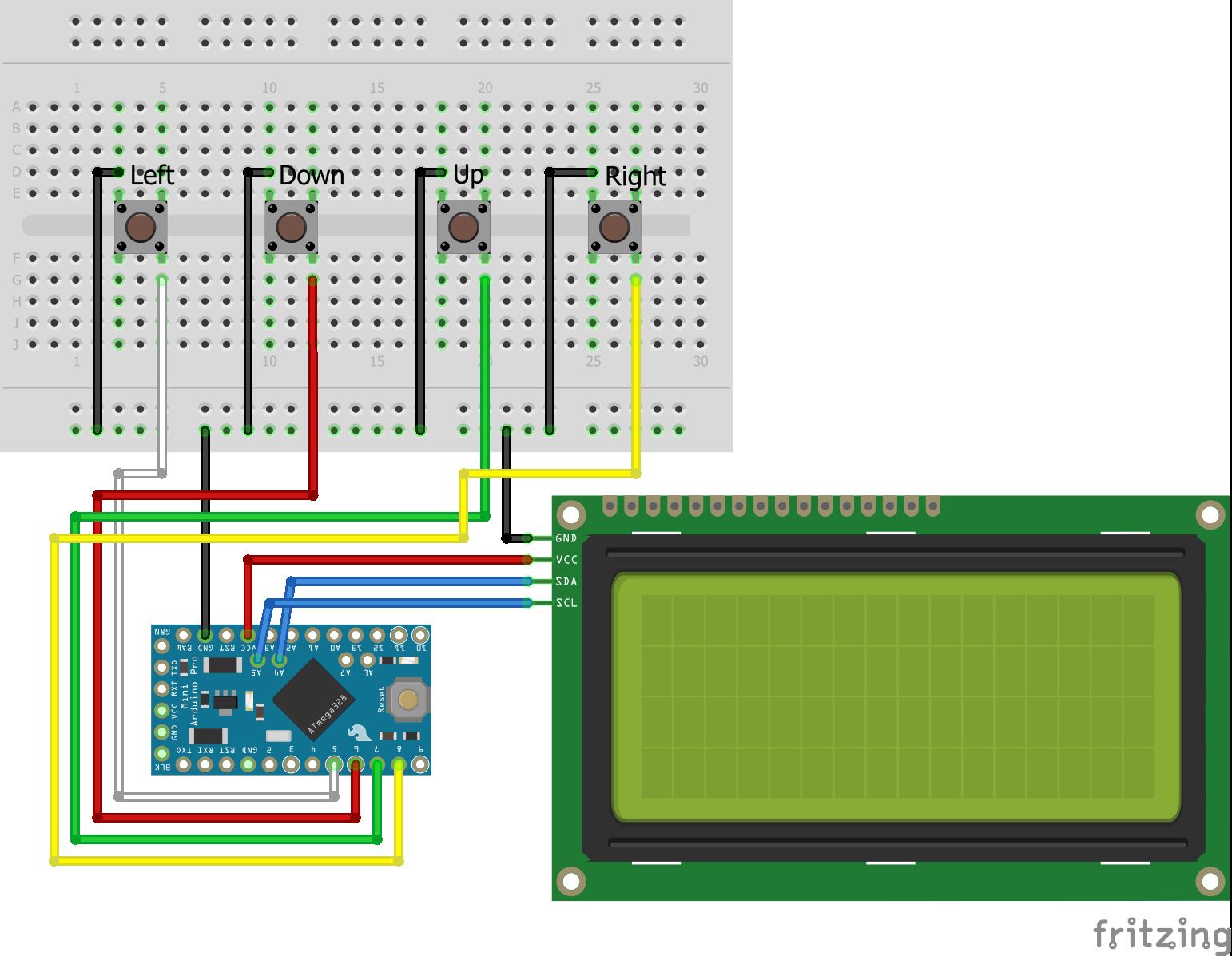 Menu with Buttons Arduino Pro Mini