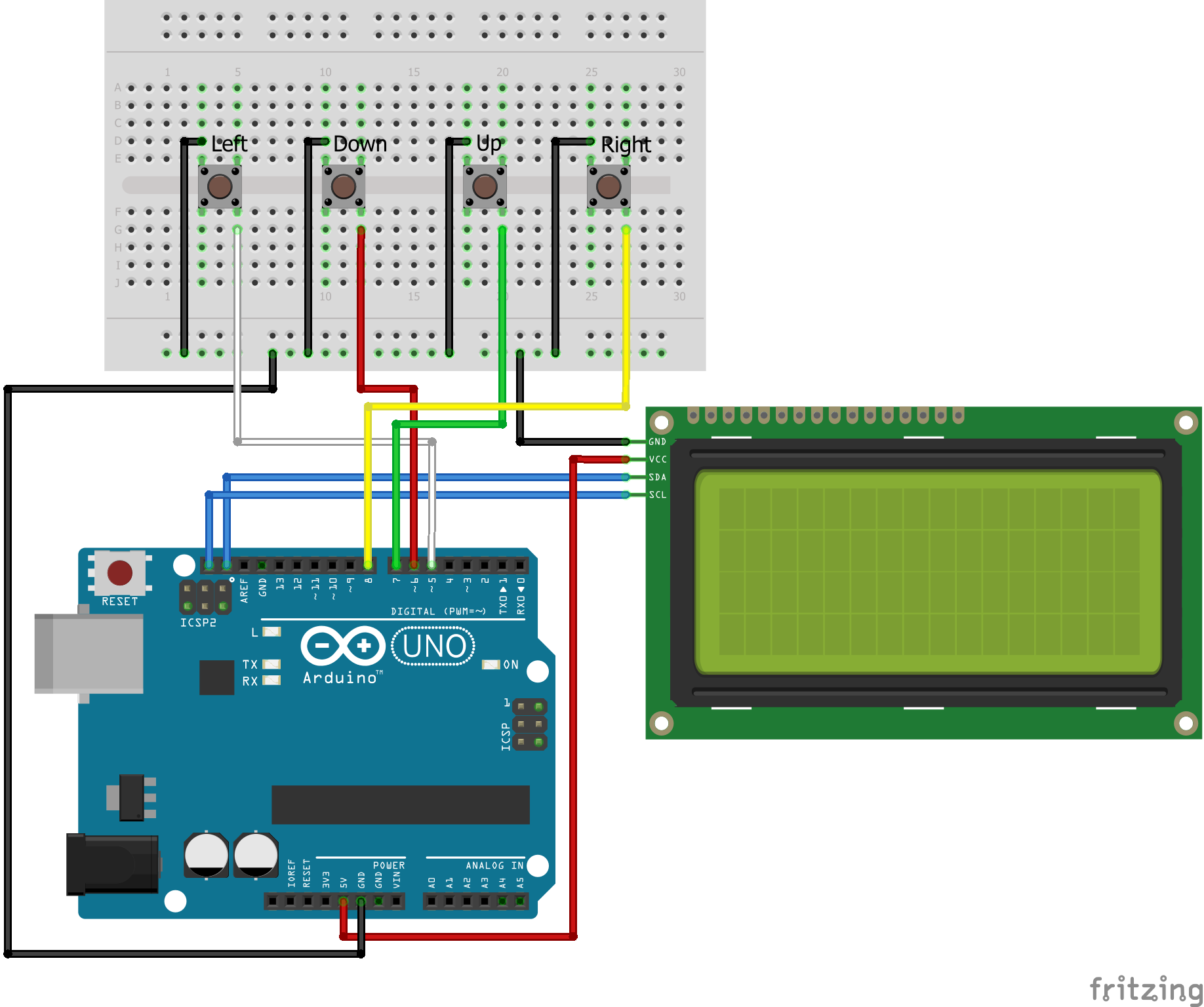 Menu with Buttons Arduino Uno