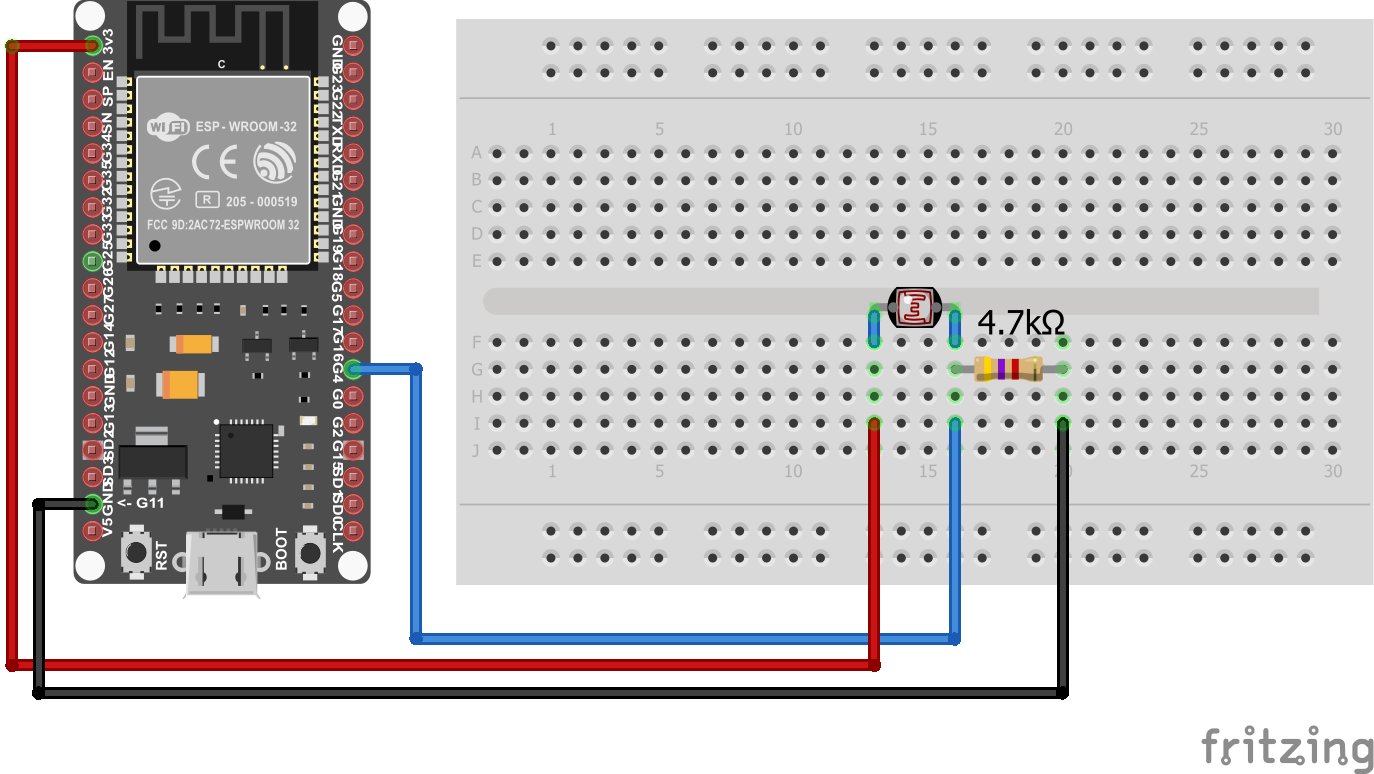 Photoresistor Wiring ESP32 NodeMCU