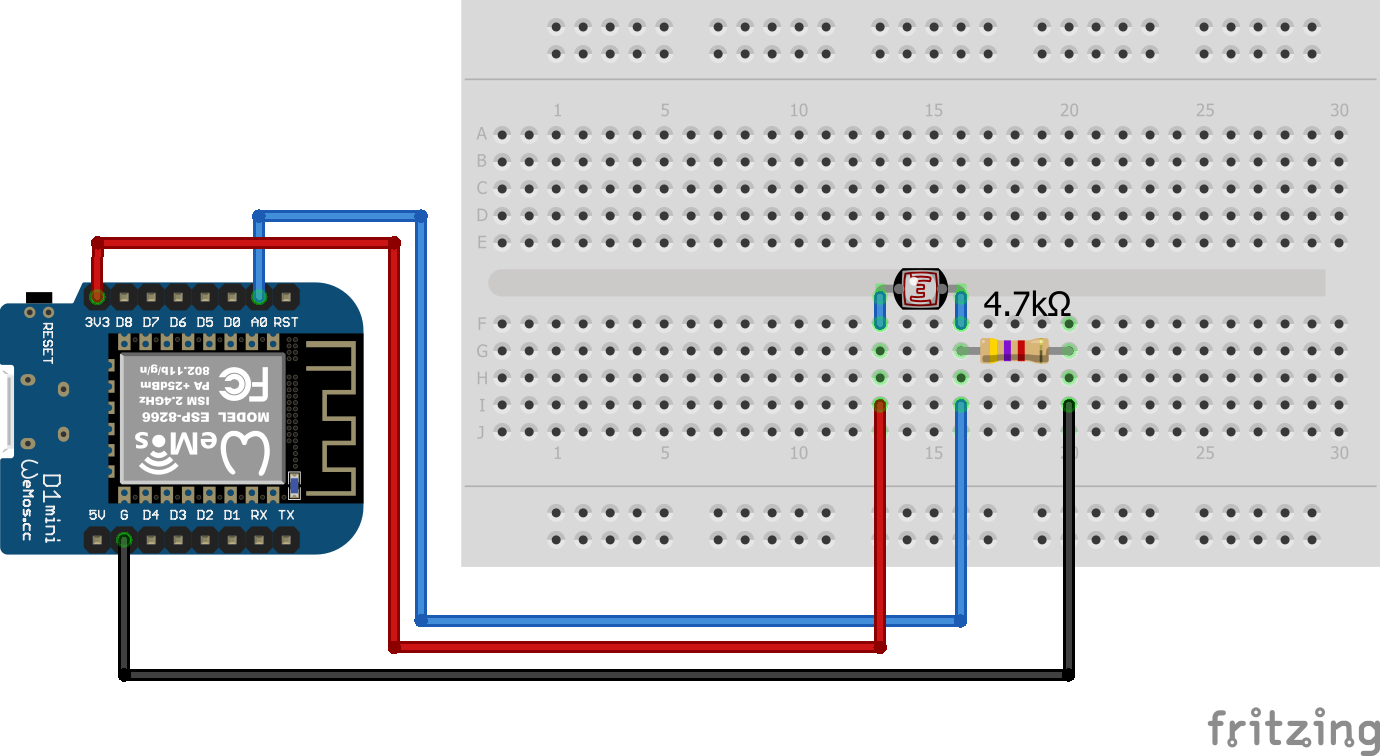 Photoresistor Wiring ESP8266 WeMos D1 Mini