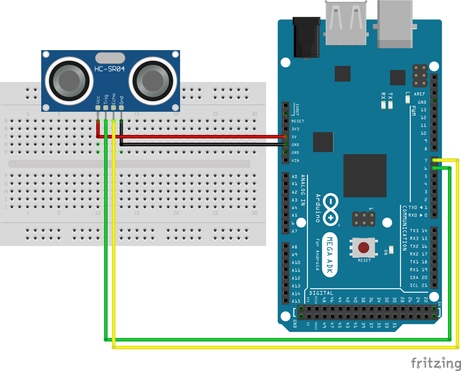 Wiring HC-SR04 Ultrasonic Distance Sensor Arduino Mega