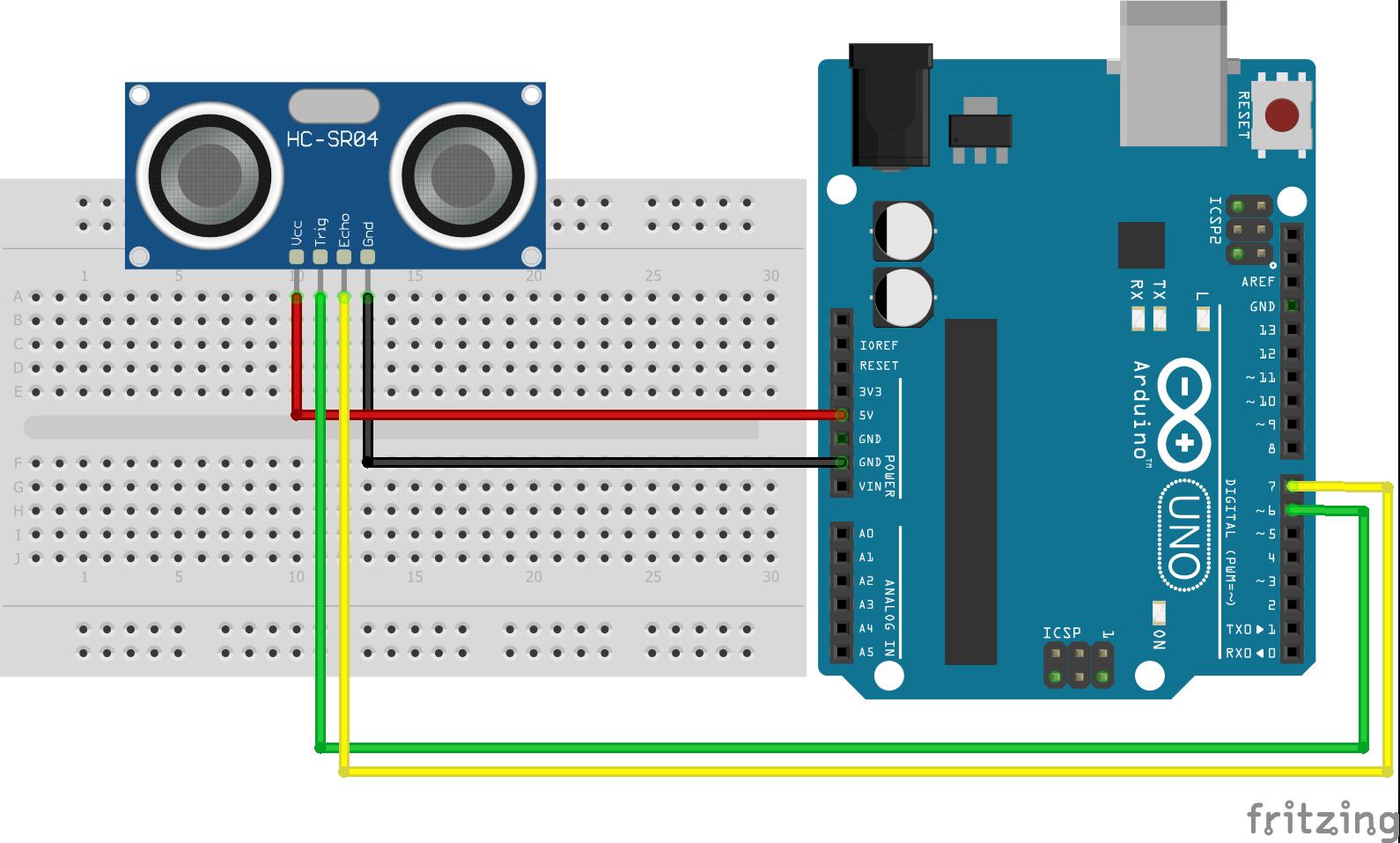 Wiring HC-SR04 Ultrasonic Distance Sensor Arduino Uno