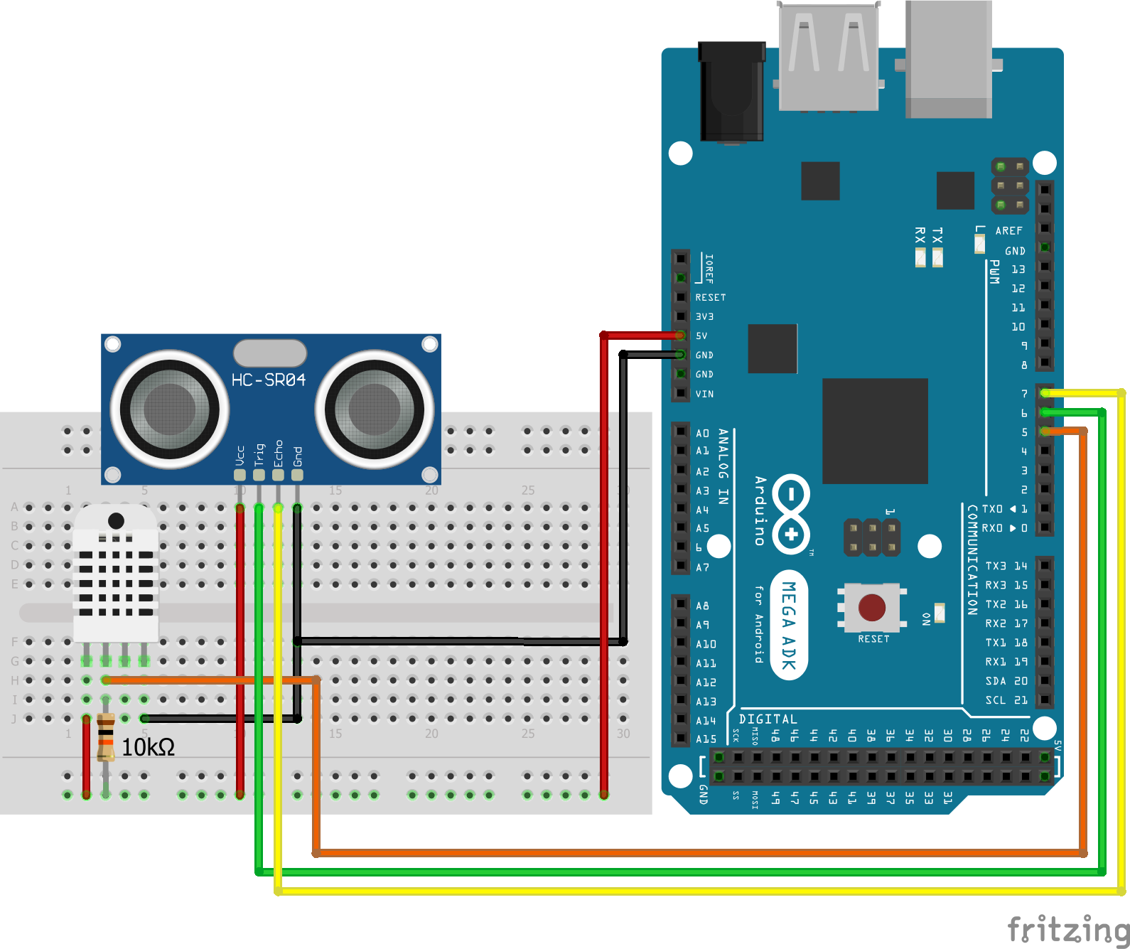 Wiring HC-SR04 Ultrasonic Distance Sensor DHT22 Arduino Mega
