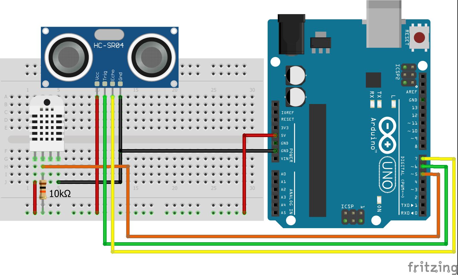 Wiring HC-SR04 Ultrasonic Distance Sensor DHT22 Arduino Uno