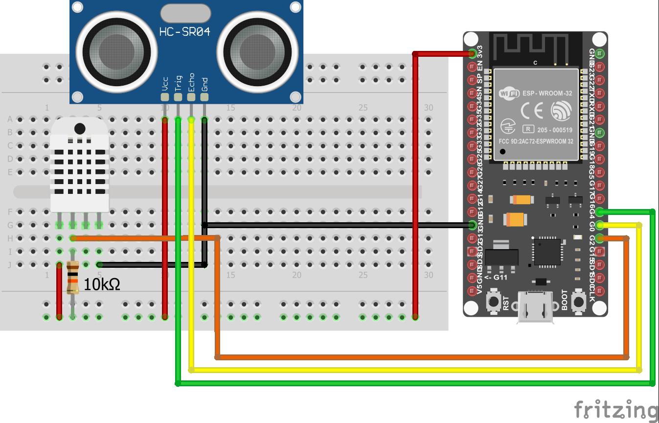 Wiring HC-SR04 Ultrasonic Distance Sensor DHT22 EPS32 ESP-WROOM-32