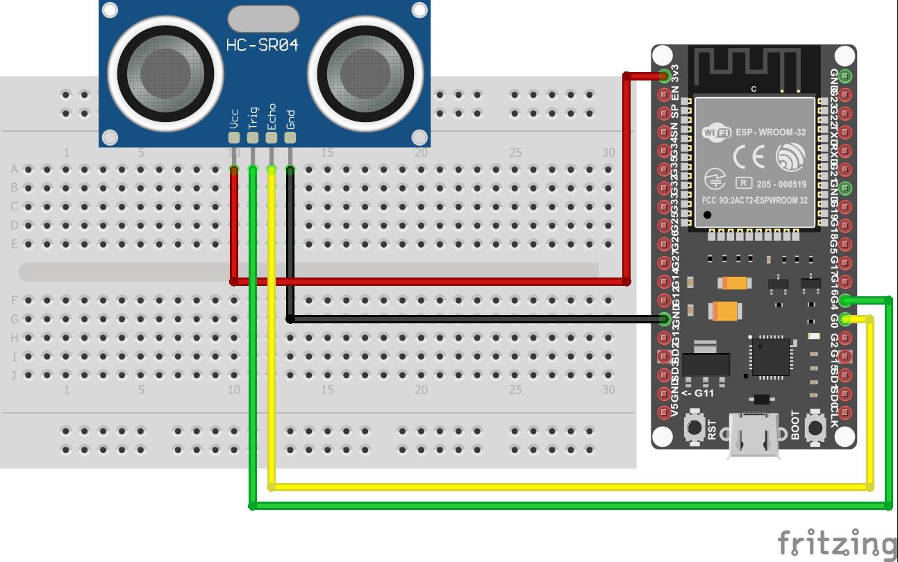 Wiring HC-SR04 Ultrasonic Distance Sensor EPS32 ESP-WROOM-32