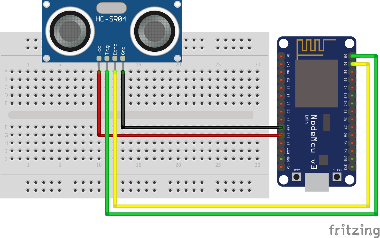 Wiring HC-SR04 Ultrasonic Distance Sensor ESP8266 NodeMCU
