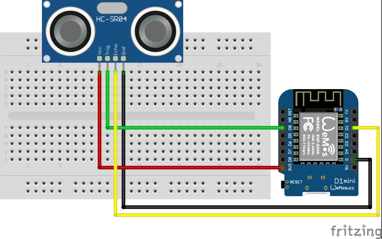 Wiring HC-SR04 Ultrasonic Distance Sensor ESP8266 WeMos D1 Mini