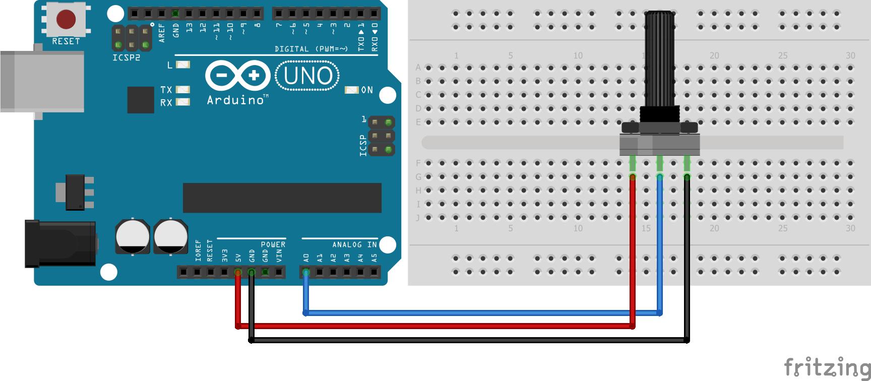 Wiring Potentiometer Arduino Uno