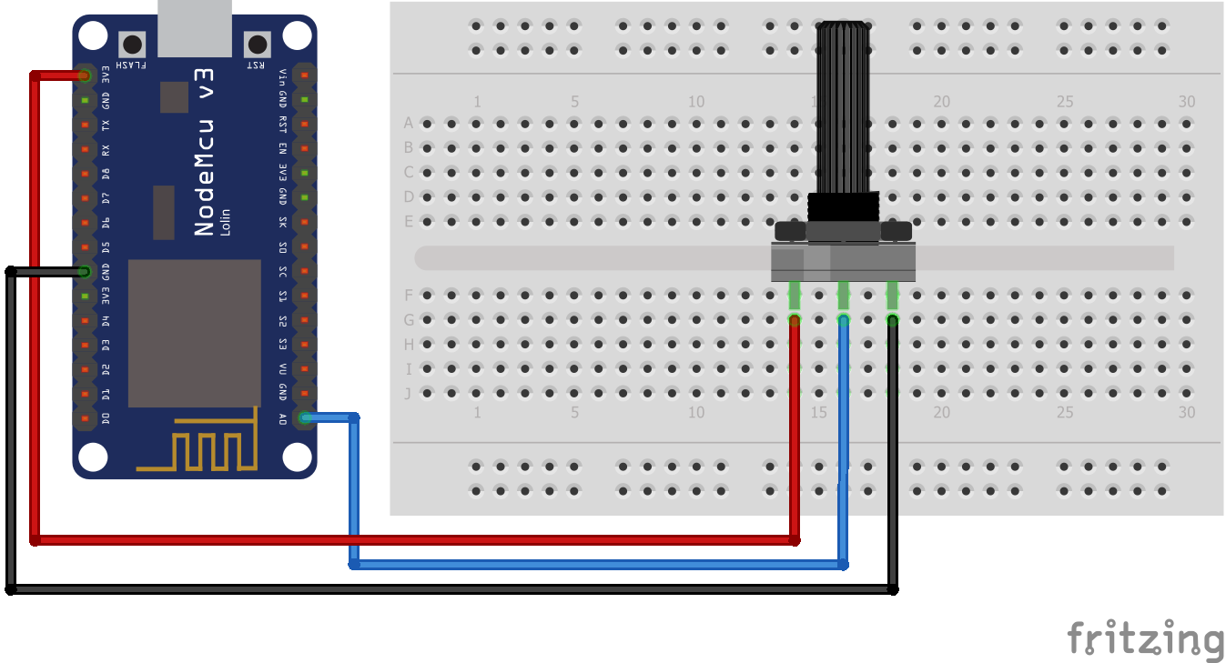 Wiring Potentiometer ESP8266 NodeMCU