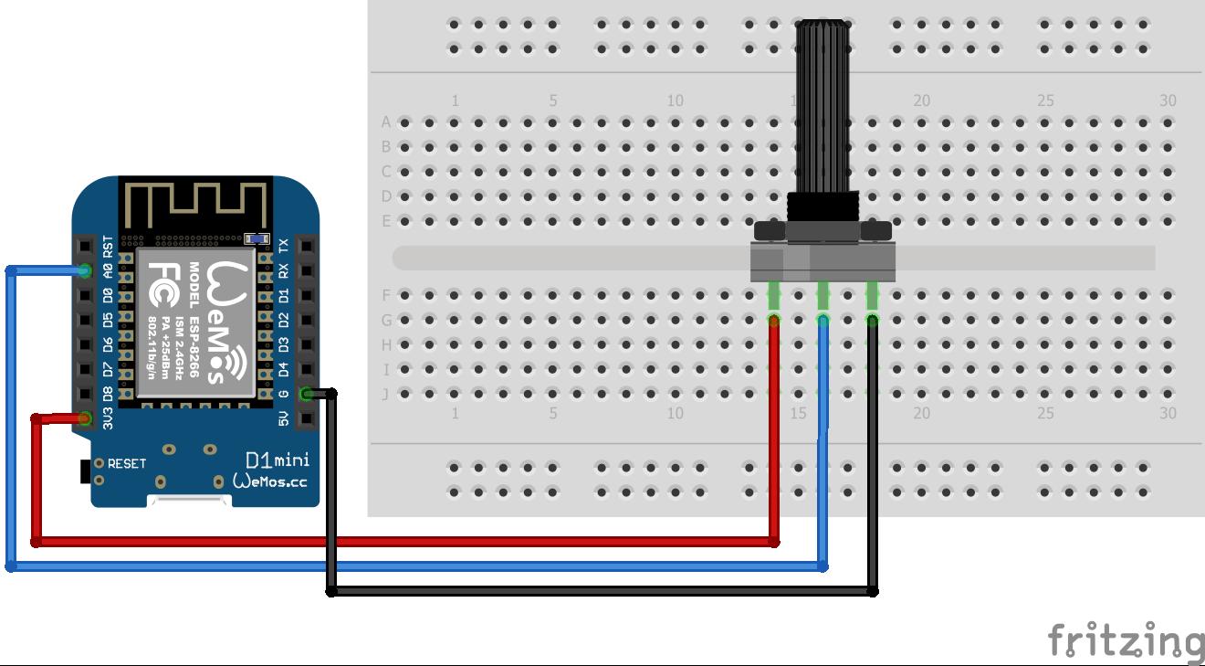 Wiring Potentiometer ESP8266 WeMos D1 Mini