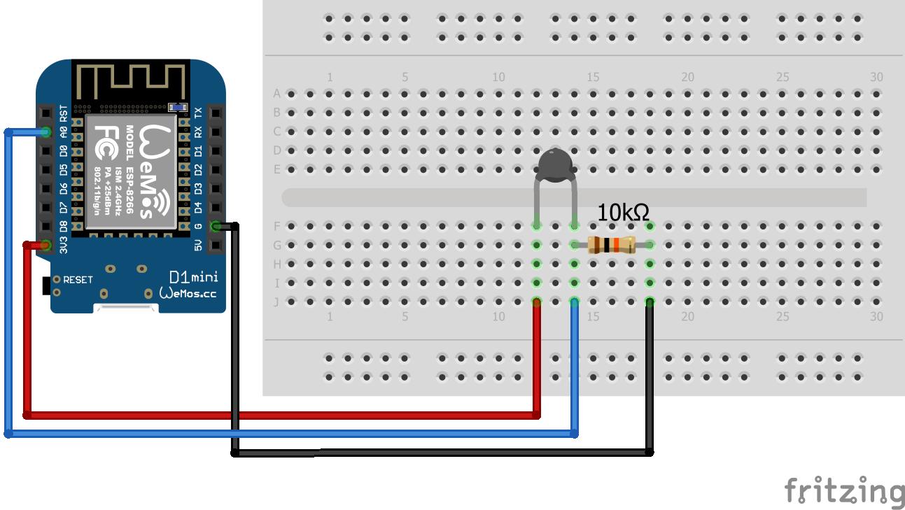 Wiring Thermistor ESP8266 WeMos D1 Mini
