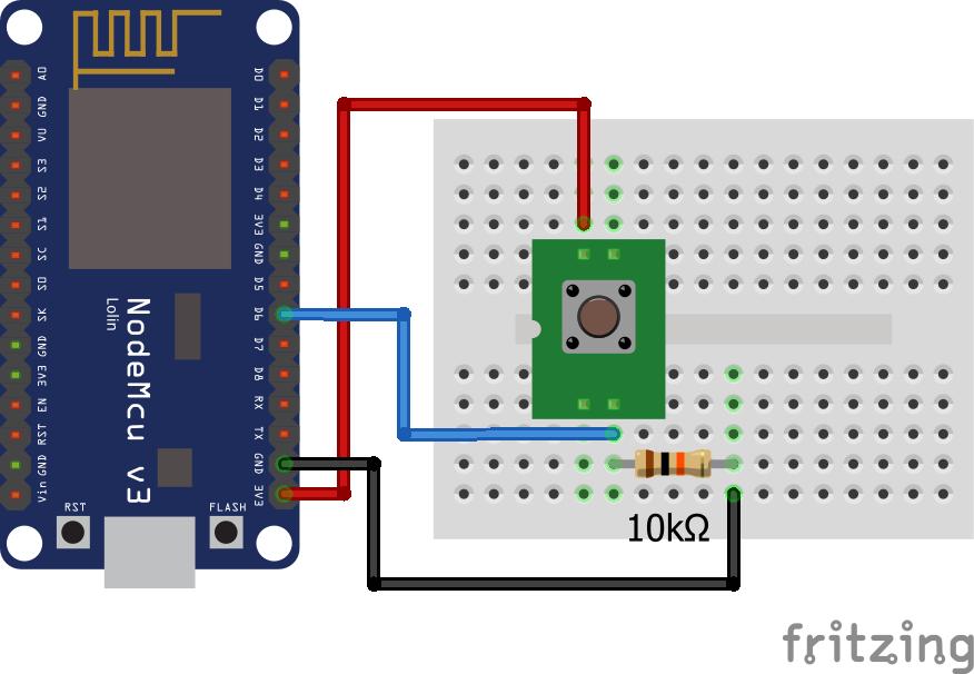 Wiring Pull Down Resistor ESP8266 NodeMCU