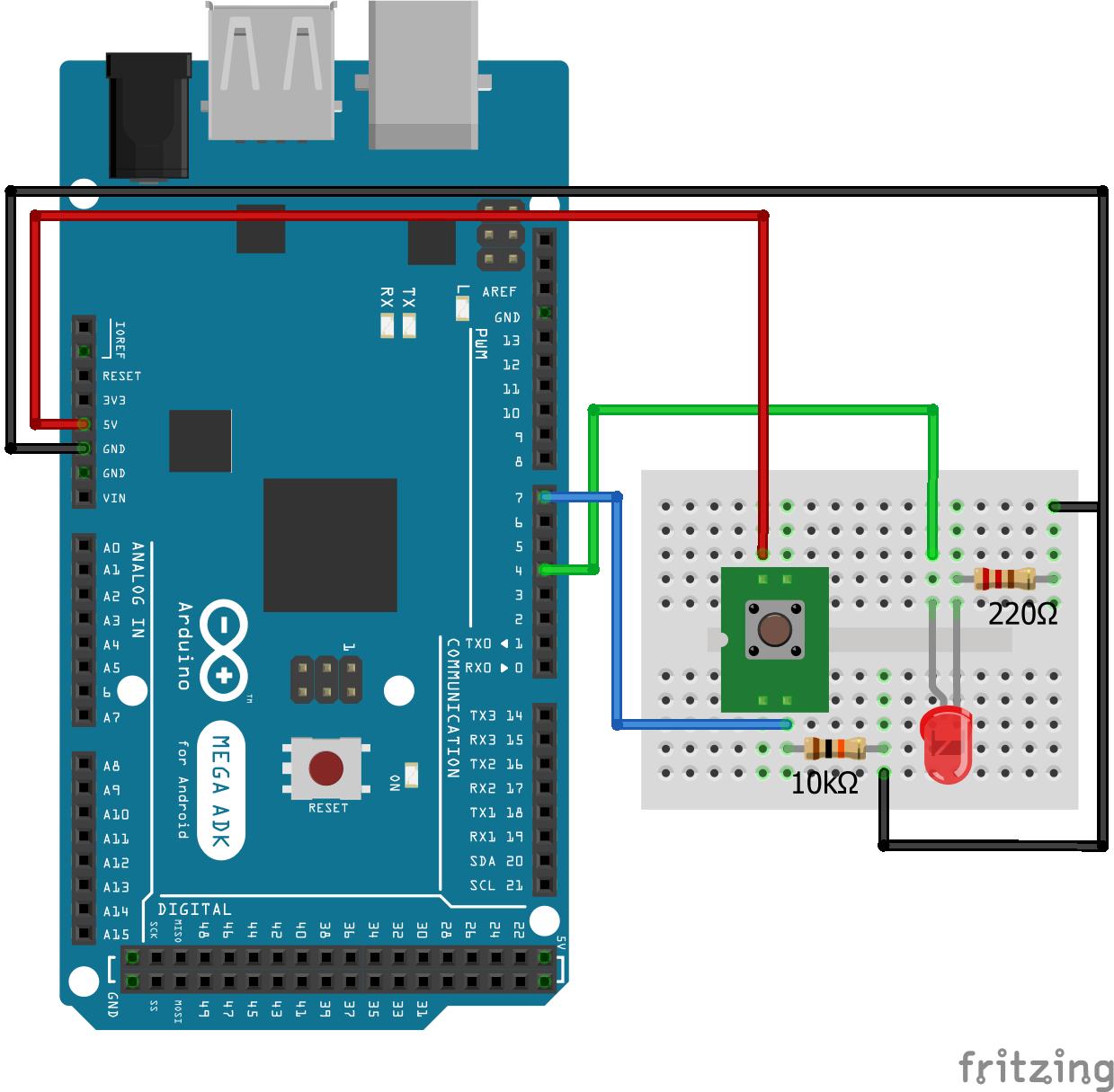 Wiring Pull Down Resistor LED Arduino Mega