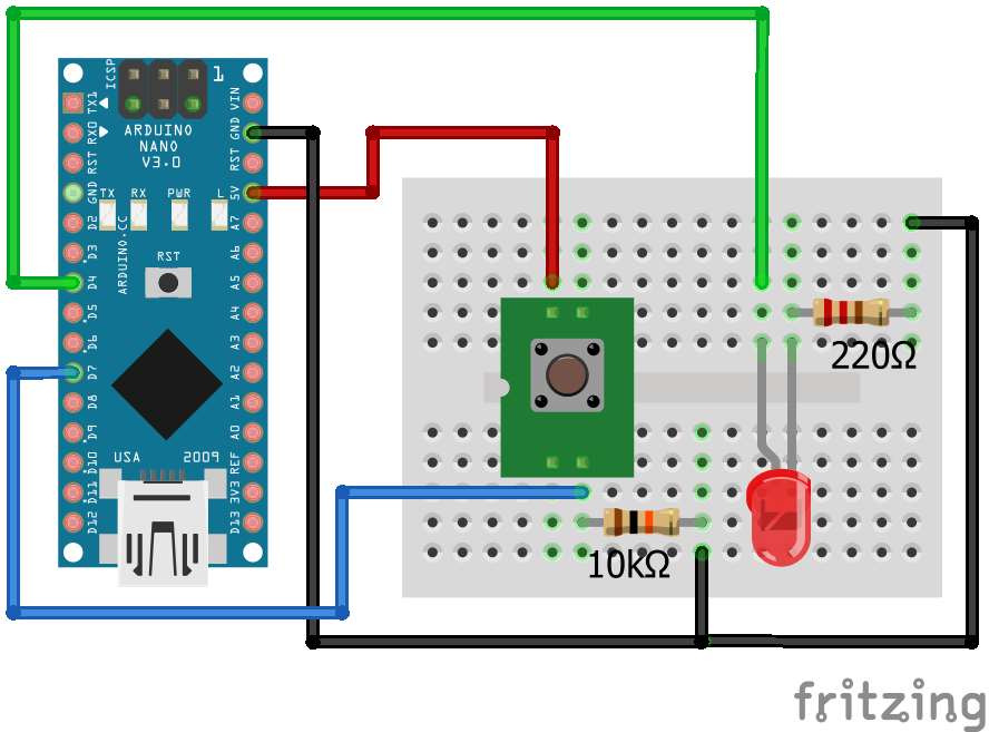 Wiring Pull Down Resistor LED Arduino Nano