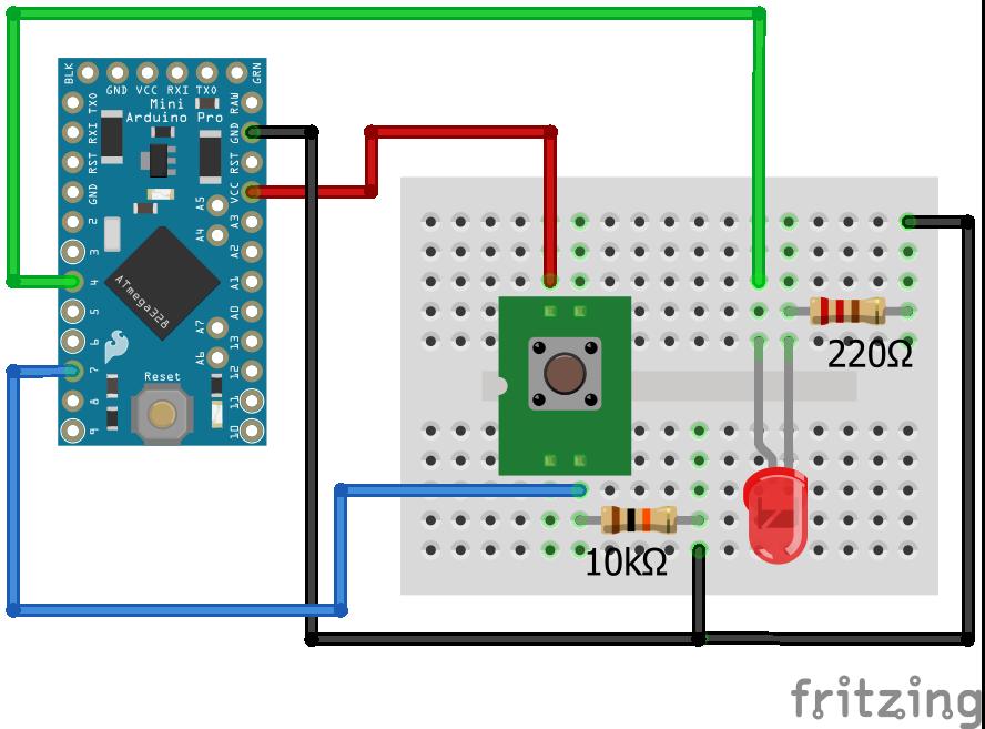 Wiring Pull Down Resistor LED Arduino Pro Mini