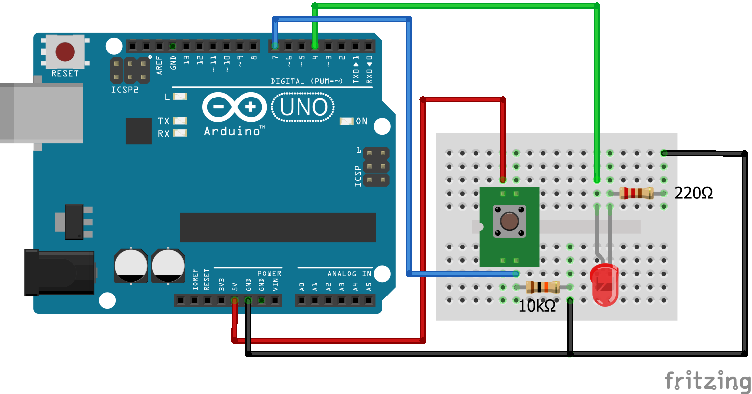 Wiring Pull Down Resistor LED Arduino Uno