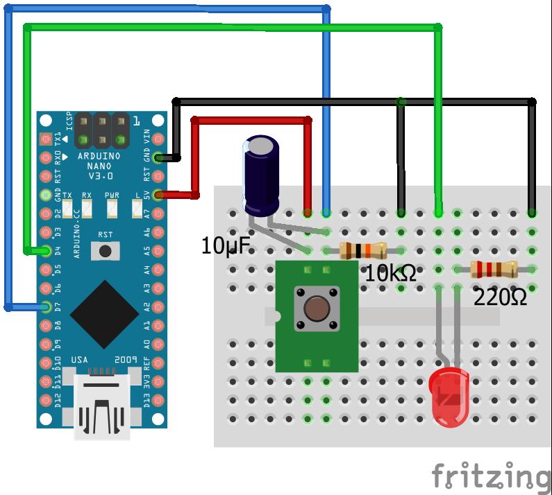 Wiring Pull Down Resistor LED Capacitor Arduino Nano