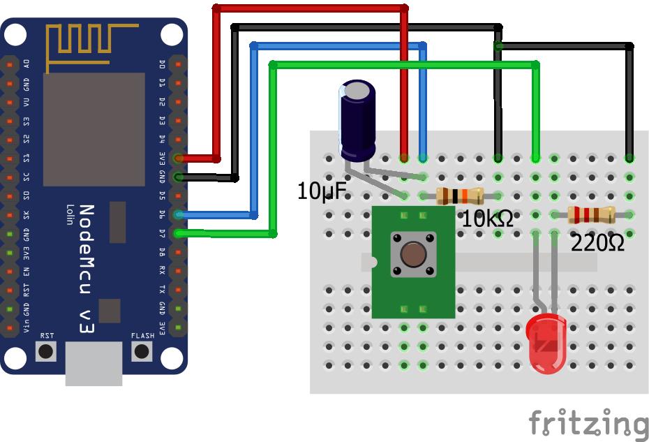 Wiring Pull Down Resistor LED Capacitor ESP8266 NodeMCU