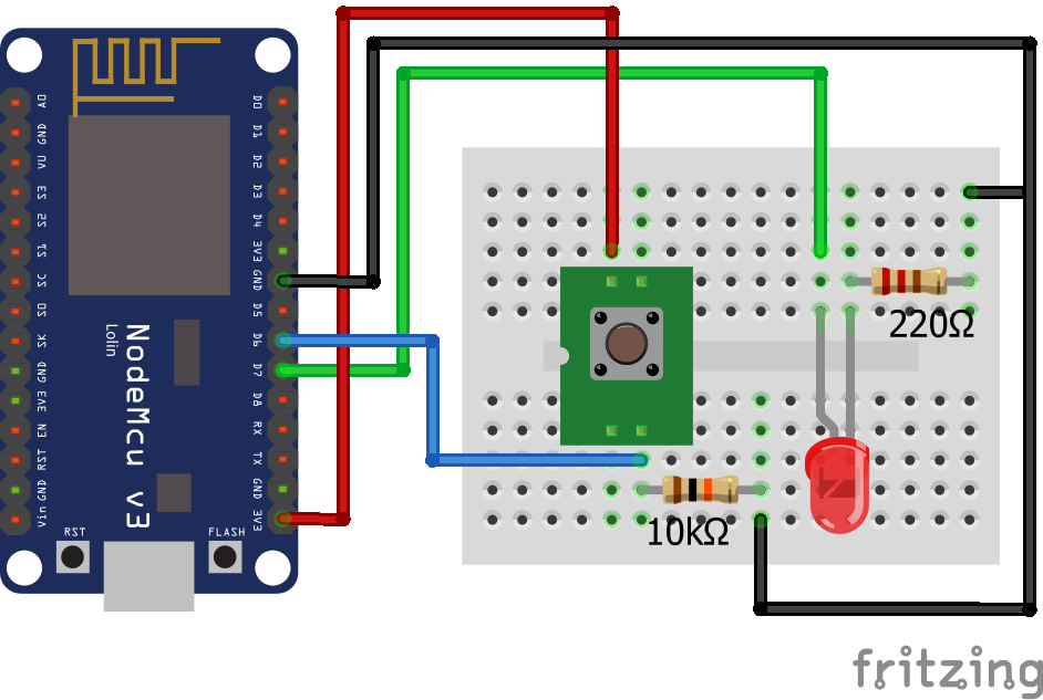 Wiring Pull Down Resistor LED ESP8266 NodeMCU