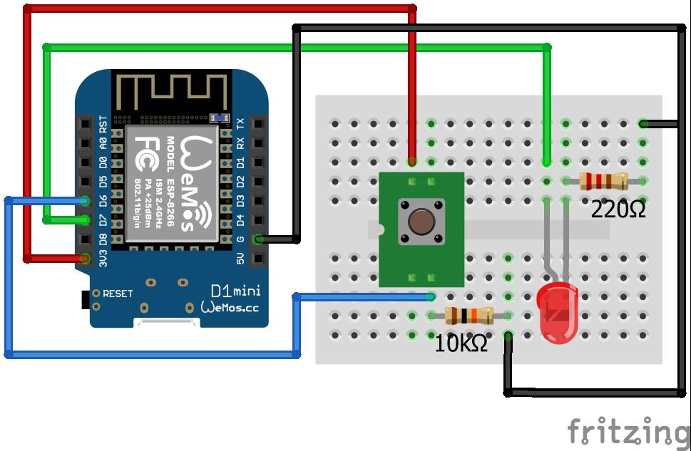 Wiring Pull Down Resistor LED ESP8266 WeMos D1 Mini