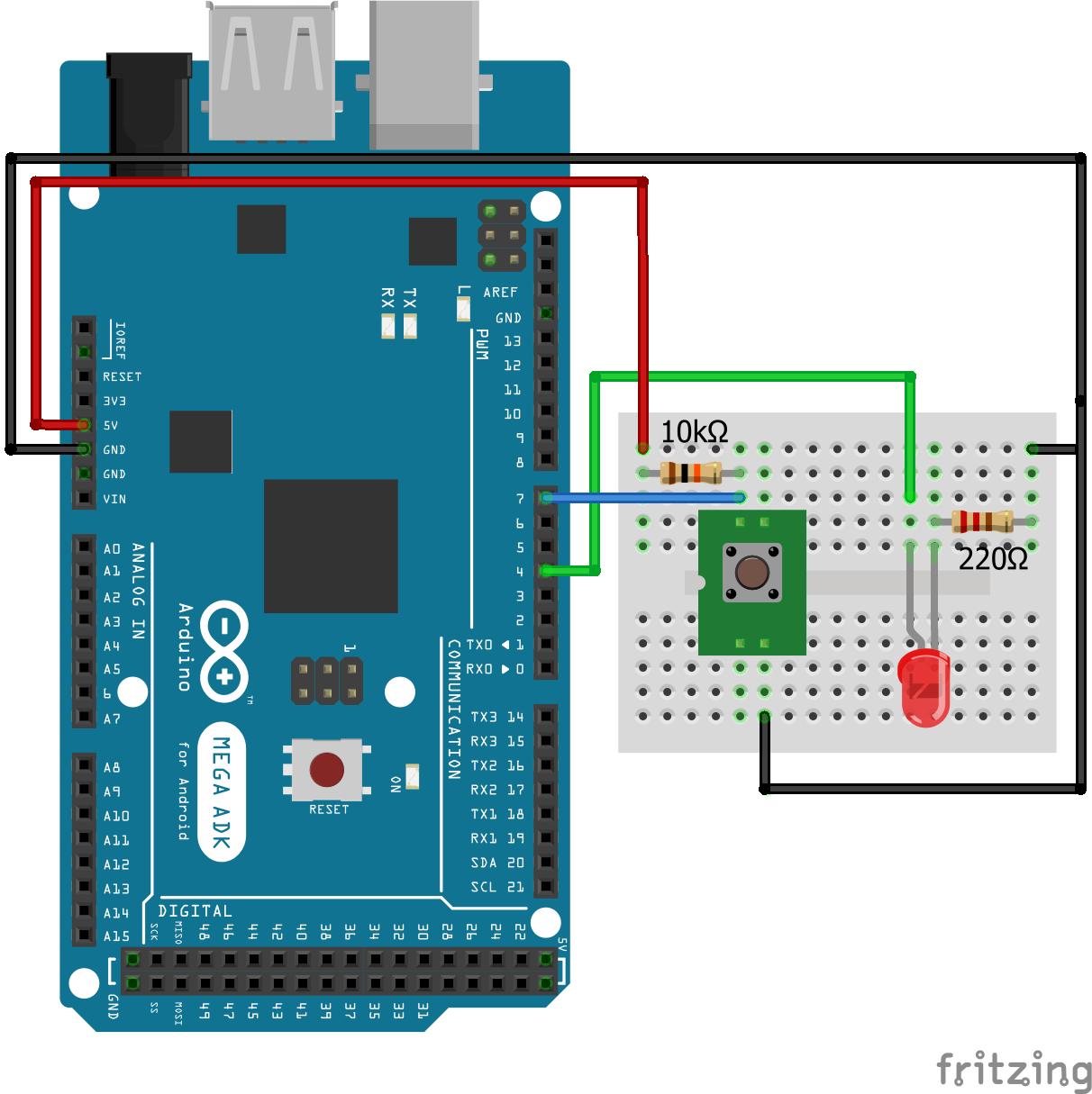 Wiring Pull Up Resistor LED Arduino Mega