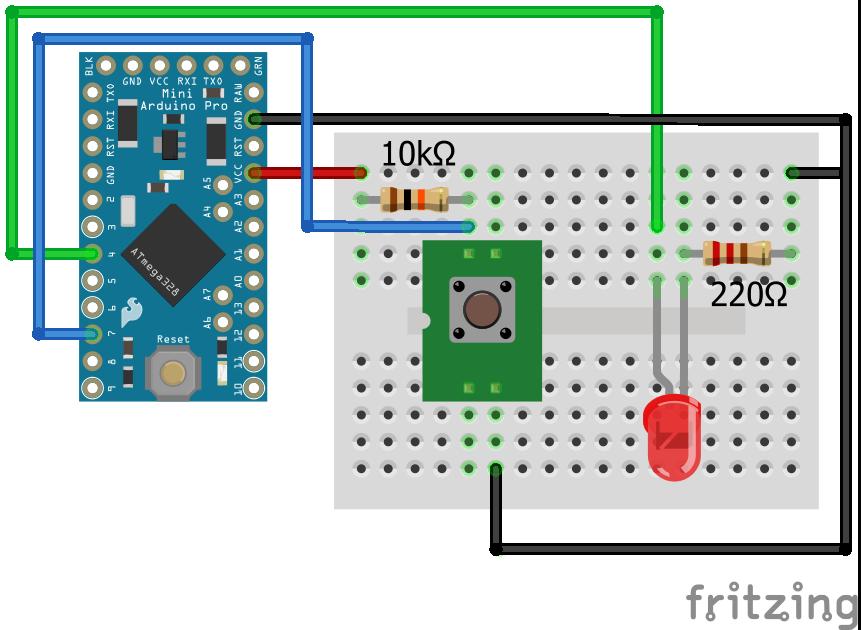 Wiring Pull Up Resistor LED Arduino Pro Mini